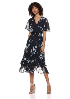 Tahari by Arthur S. Levine Women's Printed Swiss Dot Dress