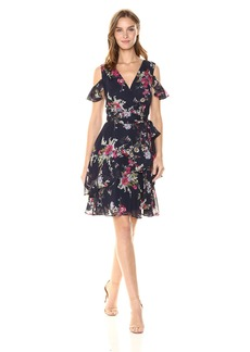 Tahari by Arthur S. Levine Women's Relaxed Fit Chemical Lace Dress with Tie at Waist