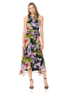 Tahari by Arthur S. Levine Women's Relaxed Fit Crepe and Chiffon Dress with Keyhole at Neck