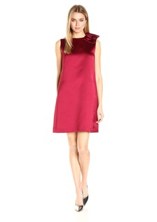 Tahari by Arthur S. Levine Women's Satin Sheath Dress with Bow