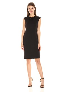 Tahari by Arthur S. Levine Women's Scuba Cap Sleeve with Beaded Neck Dress