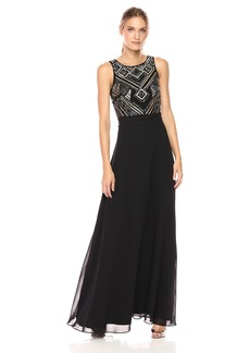 Tahari by Arthur S. Levine Women's Sequin Bodice with Chiffon Skirt
