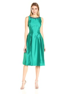 Tahari by Arthur S. Levine Women's Shantung T Length Necklace Dress with Pleats