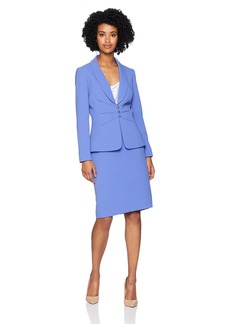 Tahari by Arthur S. Levine Women's Shawl Collar 3 Button Pintucked Crepe Skirt Suit iris