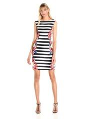 Tahari by Arthur S. Levine Women's Sheath Strip with Pritned Sides Dress
