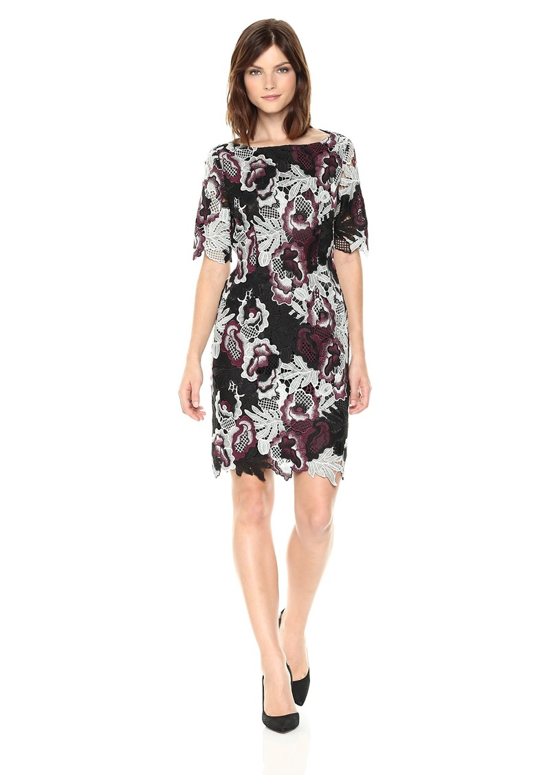 Tahari by Arthur S. Levine Women's Short Sleeve All Over Lace Sheath Dress