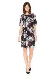 Tahari by Arthur S. Levine Women's Short Sleeve All Over Lace Sheath Dress