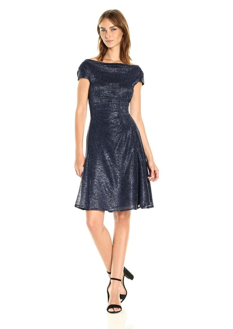 Tahari by Arthur S. Levine Women's Short Sleeve Cowl Neck Dress