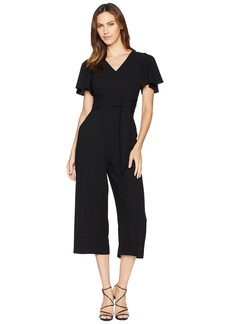Tahari by Arthur S. Levine Women's Short Sleeve Crepe Jumpsuit with SELF TIE at Waist