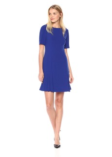 Tahari by Arthur S. Levine Women's Short Sleeve Drop Waist Dress with Flounce Skirt