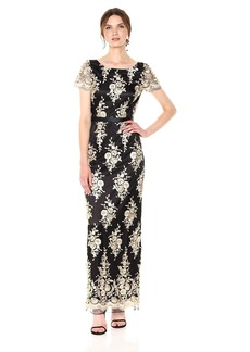Tahari by Arthur S. Levine Women's Short Sleeve Embroidered Novelty Gown