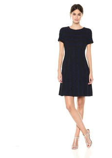Tahari by Arthur S. Levine Women's Short Sleeve Fit and Flare Dress with Beaded Detailing
