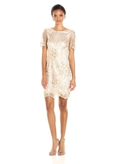 Tahari by Arthur S. Levine Women's Short Sleeve Sequin Lace Dress