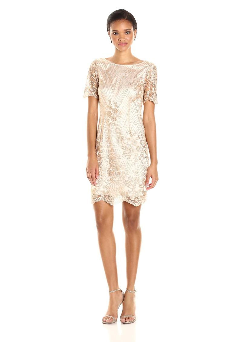 Tahari by Arthur S. Levine Women's Short Sleeve Sequin Lace Dress