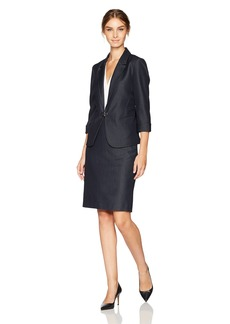Tahari by Arthur S. Levine Women's Skirt Suit With Gunmetal Toggle Closure