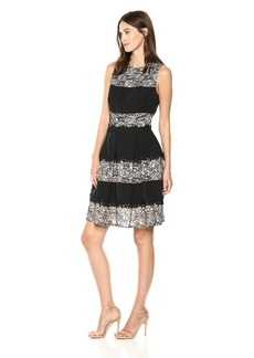Tahari by Arthur S. Levine Women's Sleevelace Lace and Stripes Fit and Flare Dress