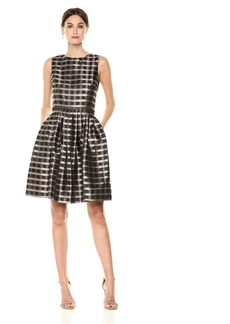 Tahari by Arthur S. Levine Women's Sleeveless Checkered Pattern with Beads on Waist and Neck