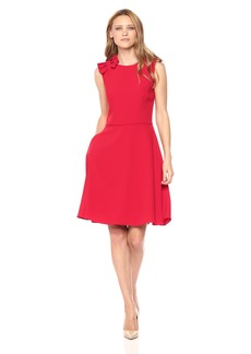 Tahari by Arthur S. Levine Women's Sleeveless Dress with Bow Detail On Shoulder Stap
