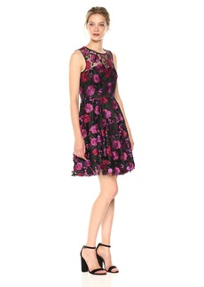 Tahari by Arthur S. Levine Women's Sleeveless Fit and Flare Dress with Floral Embroidery