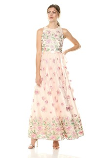 Tahari by Arthur S. Levine Women's Sleeveless Floral Embroidery Ivory/Pink/sage