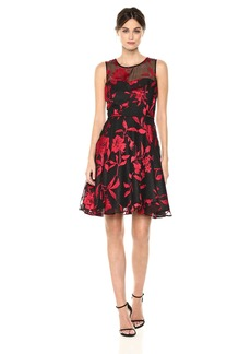 Tahari by Arthur S. Levine Women's Sleeveless Floral with Beading On Waistline and Mesh Top
