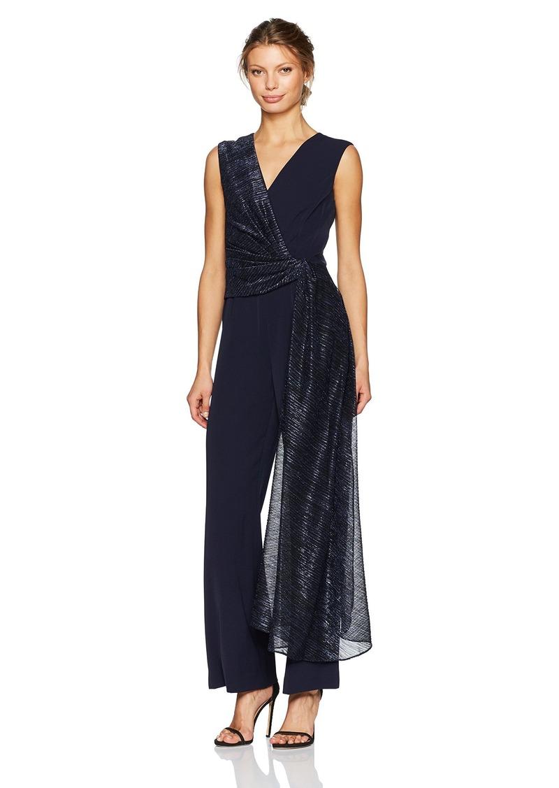 Tahari by Arthur S. Levine Women's Sleeveless Jumpsuit with Metallic Sash