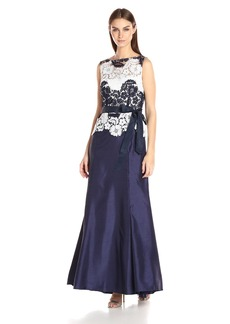 Tahari by Arthur S. Levine Women's Sleeveless Lace Gown with Self Tie Sash