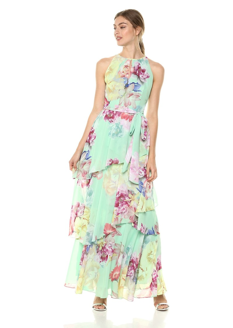 Tahari by Arthur S. Levine Women's Sleeveless Printed Chiffon sage/Lemon/Coral