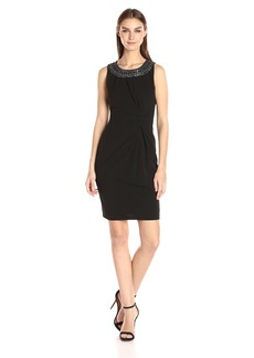 Tahari by Arthur S. Levine Women's Sleevless Beaded Neckline Dress