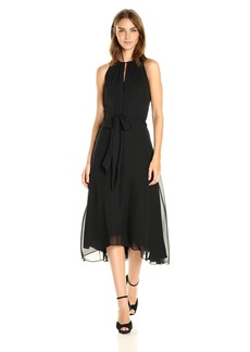 Tahari by Arthur S. Levine Women's Sleevless Key Hole Tea Length Dress