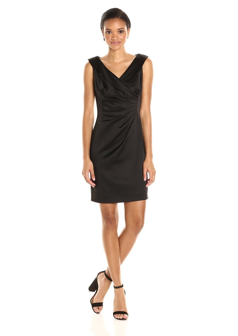 Tahari by Arthur S. Levine Women's Sleevless Stretch Satin with Collar Dress