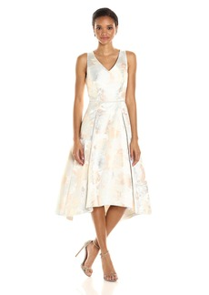 Tahari by Arthur S. Levine Women's Slevless Metallic Jacquard Tlength Dress
