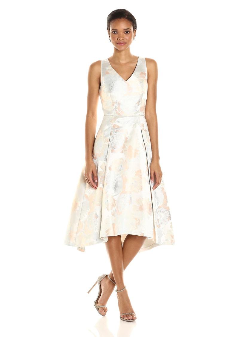 Tahari by Arthur S. Levine Women's Slevless Metallic Jacquard Tlength Dress