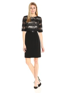 Tahari by Arthur S. Levine Women's Sparkle Lace Crepe Long Sleeve Dress