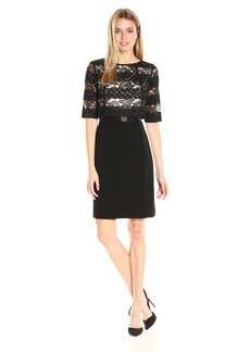 Tahari by Arthur S. Levine Women's Sparkle Lace Crepe 1/2 Sleeve Dress