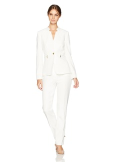 Tahari by Arthur S. Levine Women's Stretch Crepe One Button Pant Suit With Gold Hardware chalk
