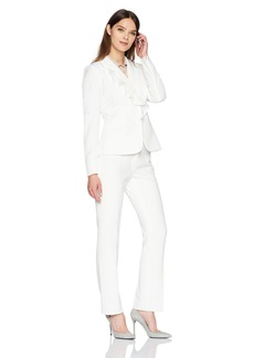 Tahari by Arthur S. Levine Women's Stretch Crepe Pant Suit with Ruffled Collar