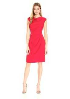 Tahari by Arthur S. Levine Women's Stretch Crepe Side Rouched Dress