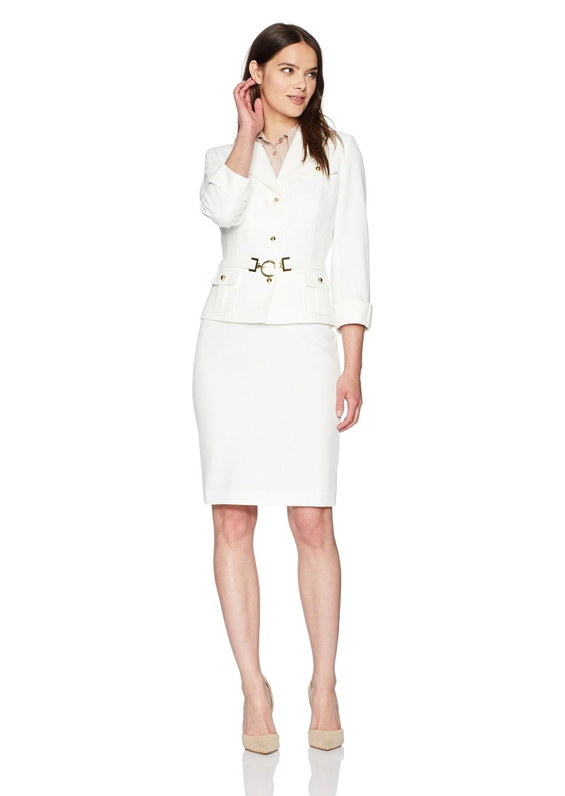 Tahari by Arthur S. Levine Women's  Stretch Crepe Skirt Suit with Belt