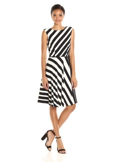Tahari by Arthur S. Levine Women's Stripped Crepe Fit and Flare Dress Black/Ivory