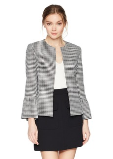 Tahari by Arthur S. Levine Women's Textured Check Open Front Jacket with Tulip Cuff