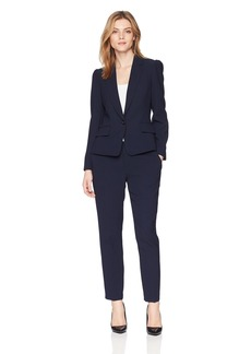Tahari by Arthur S. Levine Women's Textured Herringbone Long Sleeve Jacket Pant Suit