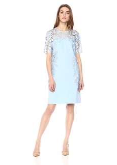 Tahari by Arthur S. Levine Women's Three Quarter Sleeve Shift Dress ICE Blue