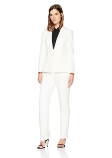 Tahari by Arthur S. Levine Women's Twill Long Sleeve One Button Closure Jacket Pant Suit