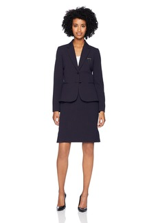 Tahari by Arthur S. Levine Women's Two Button Notch Collar Pin Detail Stripe Skirt Suit