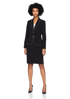 Tahari by Arthur S. Levine Women's Two Button Star Neck Zip Pocket Skirt Suit