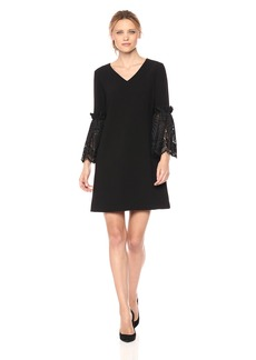 Tahari by Arthur S. Levine Women's V Neck Shift Dress with Lace Bell Sleeve Details