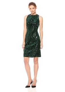 Tahari by Arthur S. Levine Women's Velvet Sequin Slvless Dress
