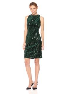 Tahari by Arthur S. Levine Women's Velvet Sequin Slvless Dress