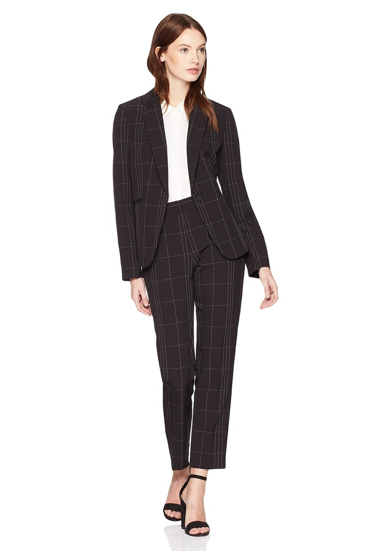 Tahari by Arthur S. Levine Women's Windowpane Plaid Long Sleeve Jacket Pant Suit
